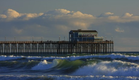 Waves moving in by Oceanside Pier -- JoelSouthernCA